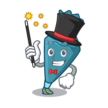 Magician pastry bag mascot cartoon style Illustration