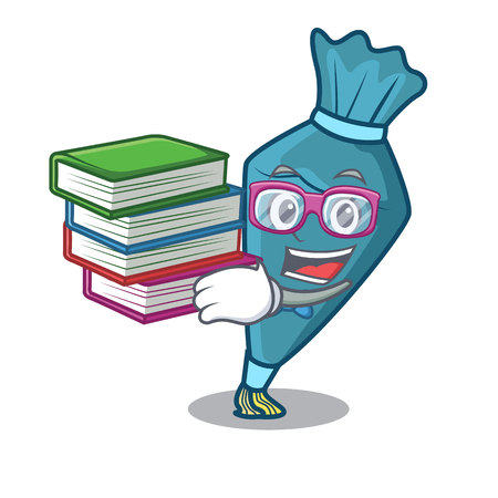 Student with book pastry bag mascot cartoon style
