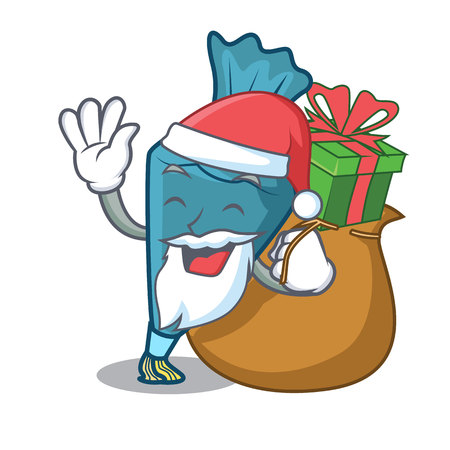 Santa with gift pastry bag mascot cartoon style