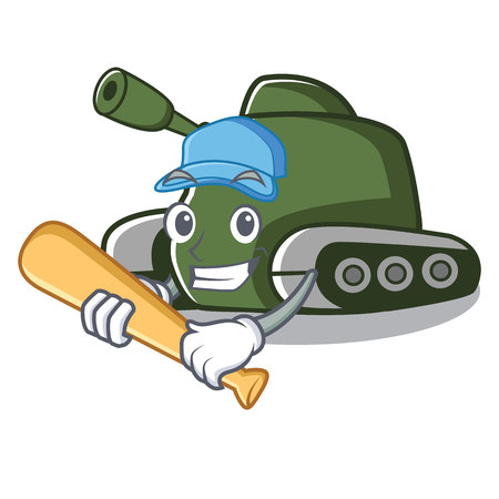 Playing baseball tank character cartoon style vector illustration