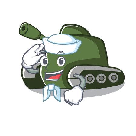 Sailor tank character cartoon style vector illustration