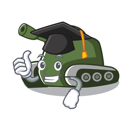 Graduation tank character cartoon style vector illustration