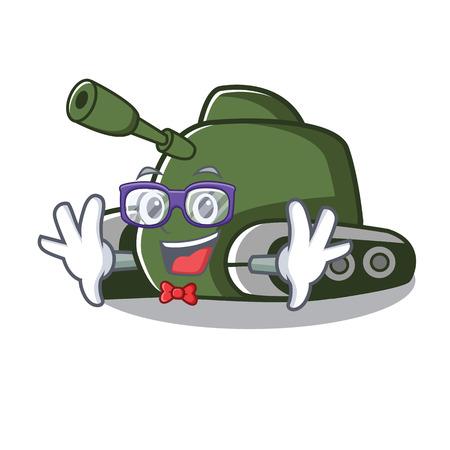 Geek tank character cartoon style vector illustration