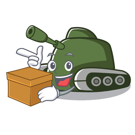 With box tank character cartoon style vector illustration