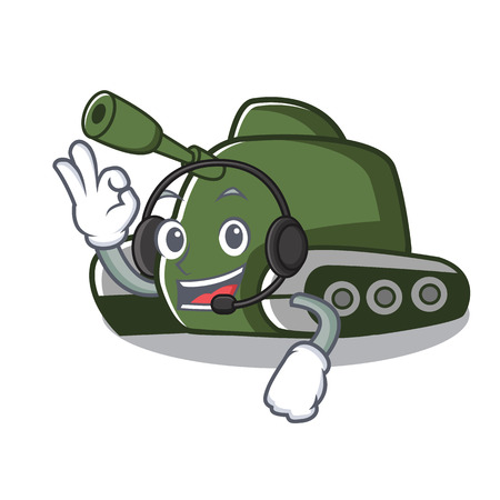 With headphone tank mascot cartoon style vector illustration