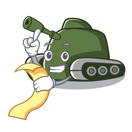 With menu tank mascot cartoon style vector illustration