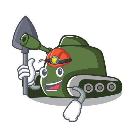 Miner tank mascot cartoon style vector illustration