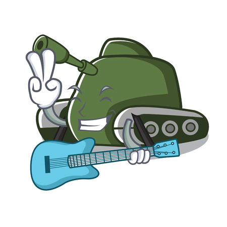 With guitar tank mascot cartoon style vector illustration