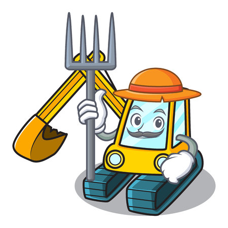 Farmer excavator character cartoon style
