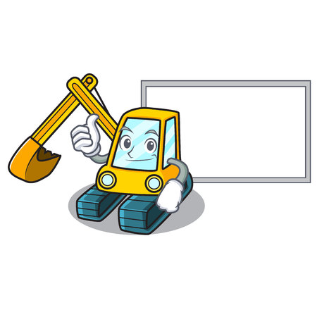 Thumbs up with board excavator character cartoon style Illustration