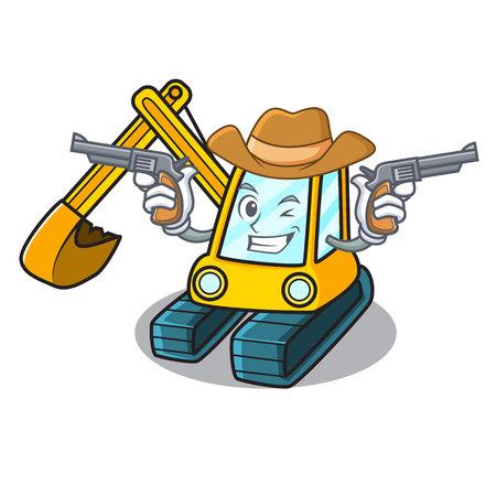 Cowboy excavator character cartoon style