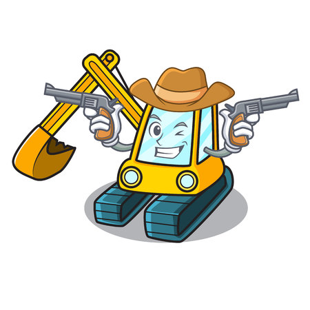 Cowboy excavator character cartoon style