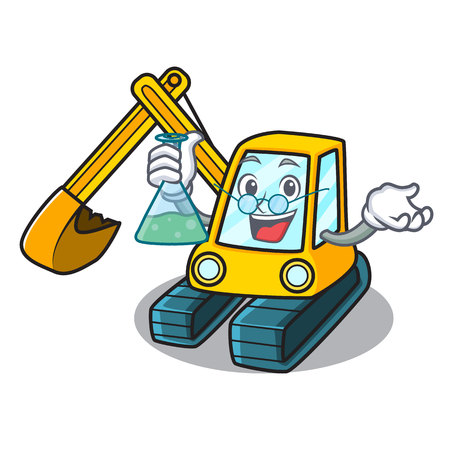 Professor excavator character cartoon style Illustration