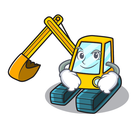 Smirking excavator character cartoon style Illustration
