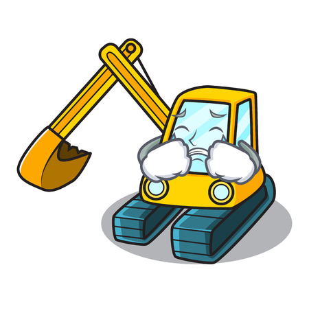 Crying excavator mascot cartoon style