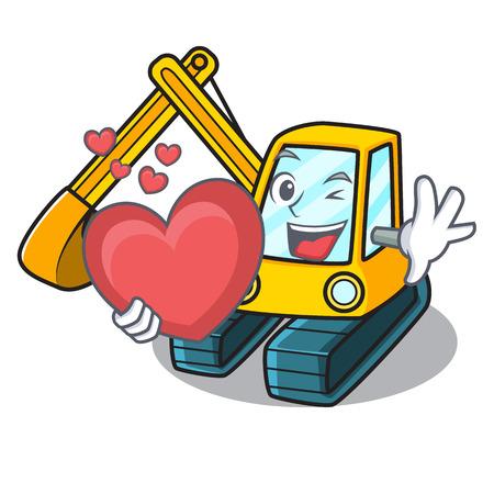 With heart excavator mascot cartoon style