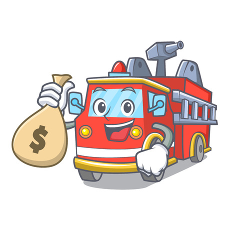With money bag fire truck character cartoon Illustration
