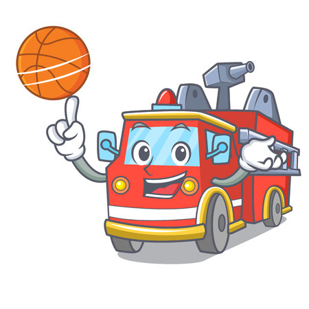 With basketball fire truck character cartoon