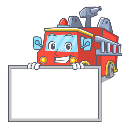 Grinning with board fire truck character cartoon