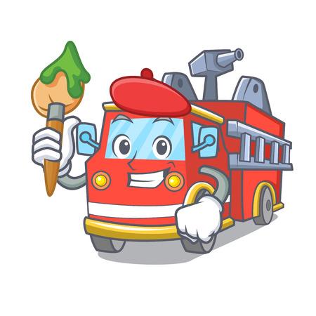 Artist fire truck character cartoon