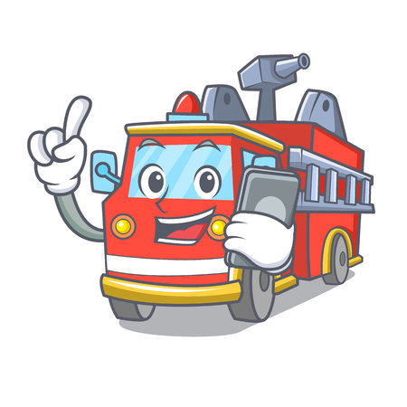 With phone fire truck character cartoon Иллюстрация