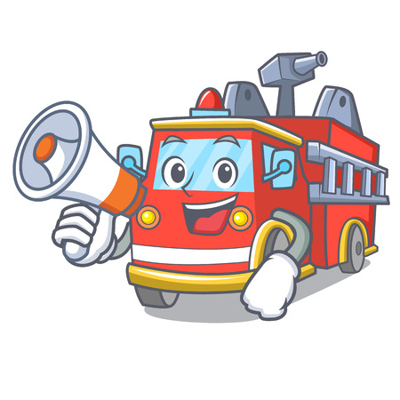 With megaphone fire truck character cartoon Illustration
