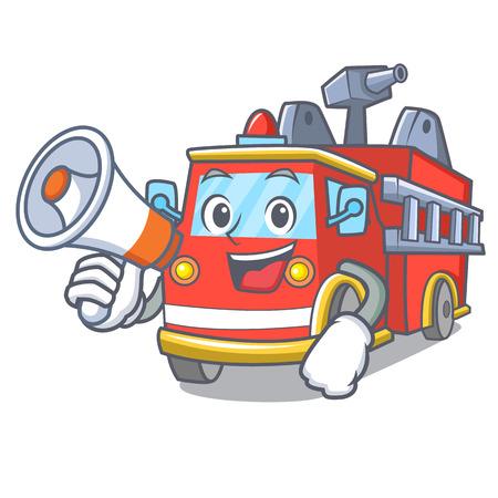 With megaphone fire truck character cartoon Stock Illustratie