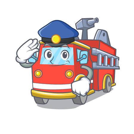 Police fire truck character cartoon