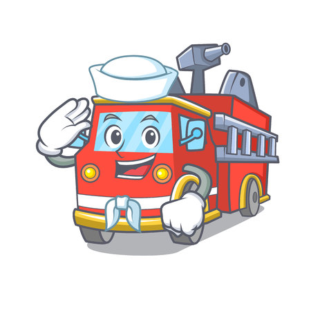 Sailor fire truck character cartoon Иллюстрация