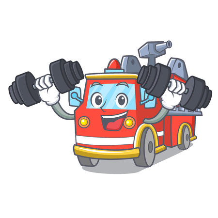Fitness fire truck character cartoon Иллюстрация