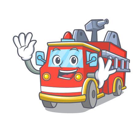 Waving fire truck character cartoon Иллюстрация
