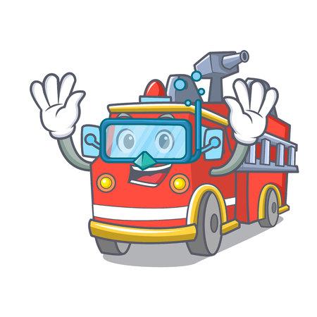 Diving fire truck character cartoon Иллюстрация