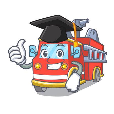 Graduation fire truck character cartoon