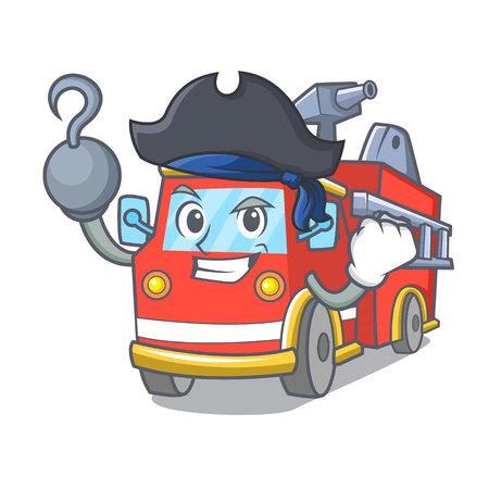 Pirate fire truck character cartoon