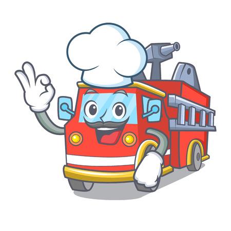 Chef fire truck character cartoon