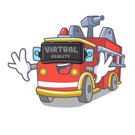 Virtual reality fire truck mascot cartoon