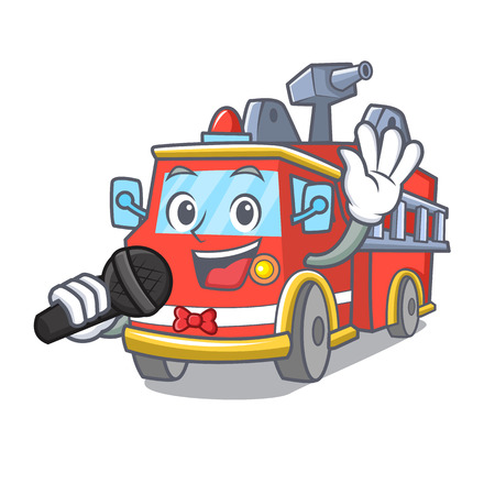 Singing fire truck mascot cartoon Иллюстрация