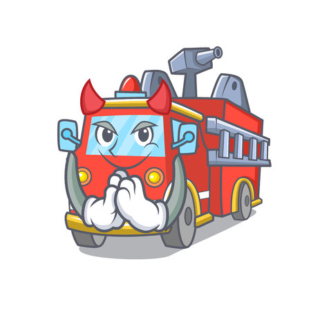 Devil fire truck mascot cartoon Иллюстрация