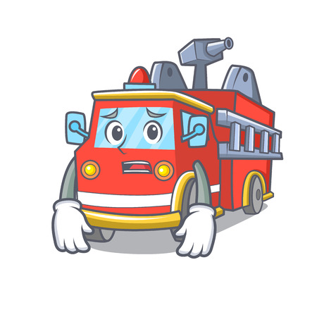 Afraid fire truck mascot cartoon Иллюстрация