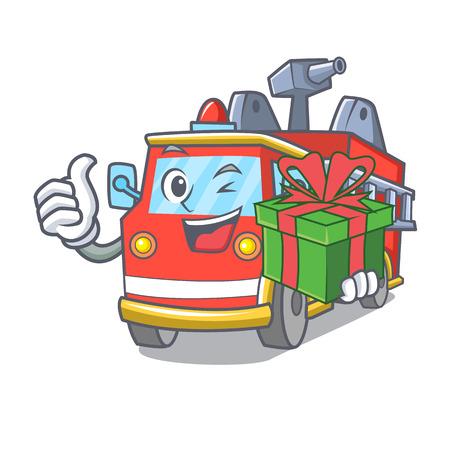 With gift fire truck mascot cartoon