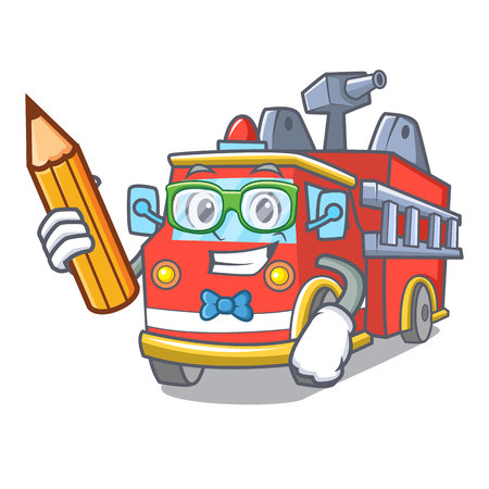 Student fire truck character cartoon