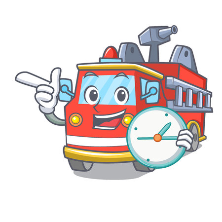 With clock fire truck character cartoon Иллюстрация