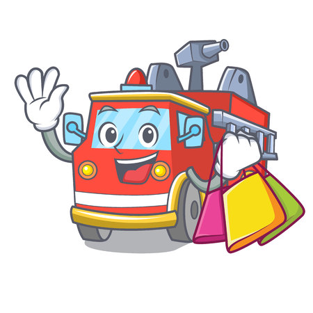 Shopping fire truck character cartoon