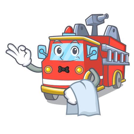 Waiter fire truck mascot cartoon
