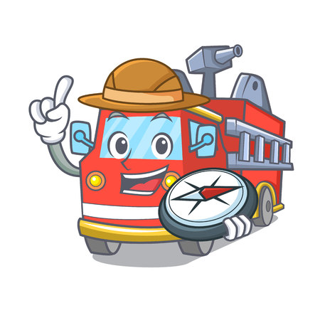 Explorer fire truck mascot cartoon