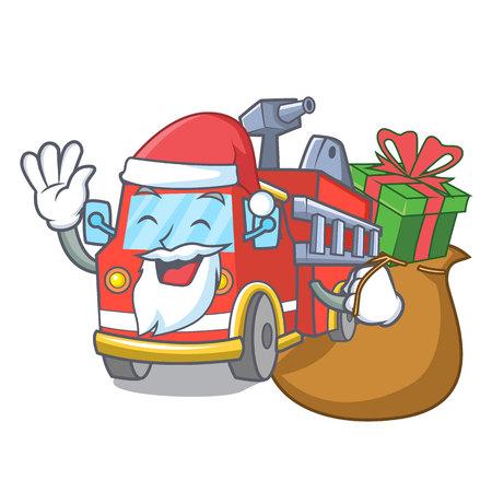 Santa with gift fire truck mascot cartoon Illustration