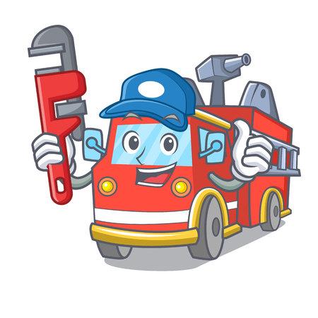 Plumber fire truck mascot cartoon Иллюстрация