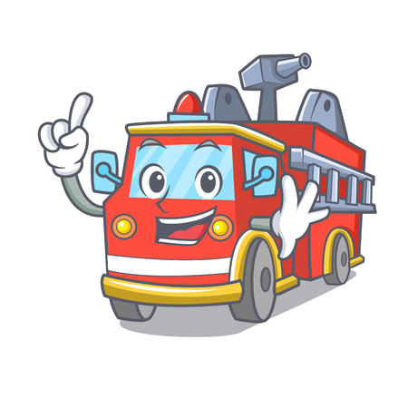 Finger fire truck mascot cartoon Ilustrace