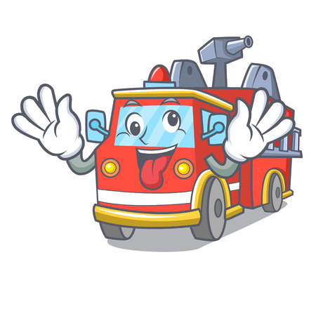 Crazy fire truck mascot cartoon