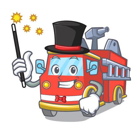 Magician fire truck mascot cartoon